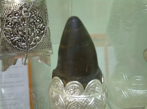 Another rhino horn mounted in Silver.
